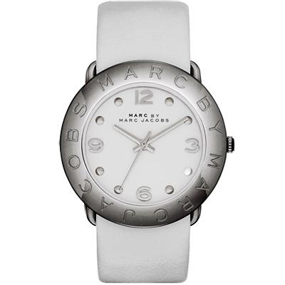 Marc Jacobs 秋冬時尚品牌腕錶-鐵灰/白/36mm