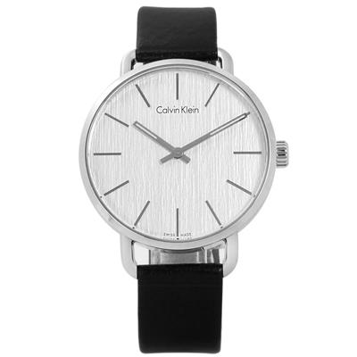 CK 沉靜雅緻岩紋皮革手錶-銀白x黑 /42mm