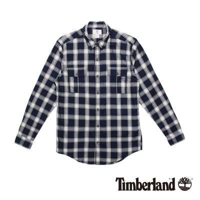 Timberland 男款黑白格紋休閒雙口袋長袖襯衫