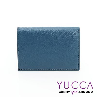 YUCCA - 牛皮俏麗多彩名片夾(迷你皮夾)-灰藍色- 02200045009