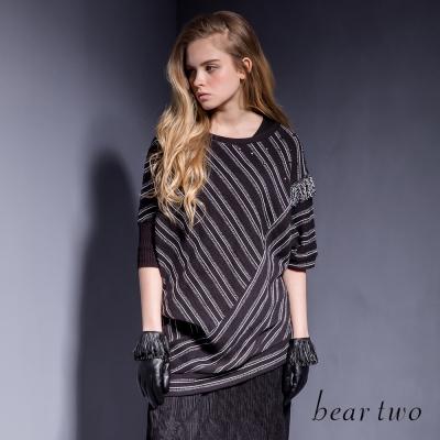 beartwo-不對稱條紋鉚釘釦飾流蘇上衣-二色