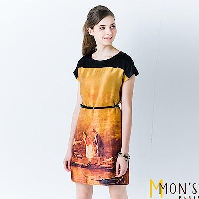 MONS 歐風印染蠶絲洋裝