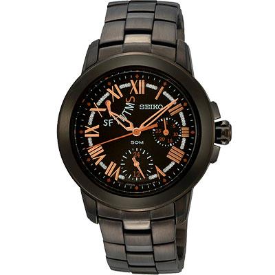 SEIKO 星光魔法全日曆腕錶(SPA 805 P 1 )-IP黑x玫瑰金時標/ 33 mm