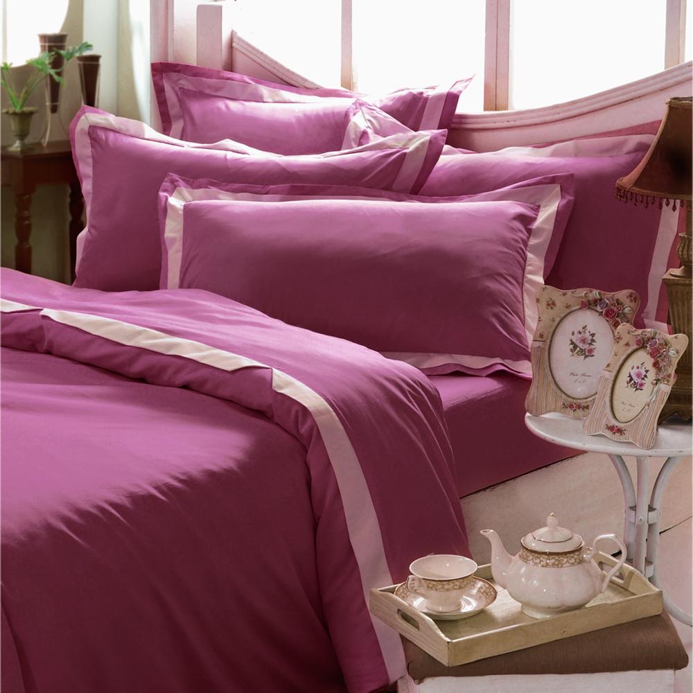 義大利La Belle 美學素雅 雙人被套床包組-玫瑰紅