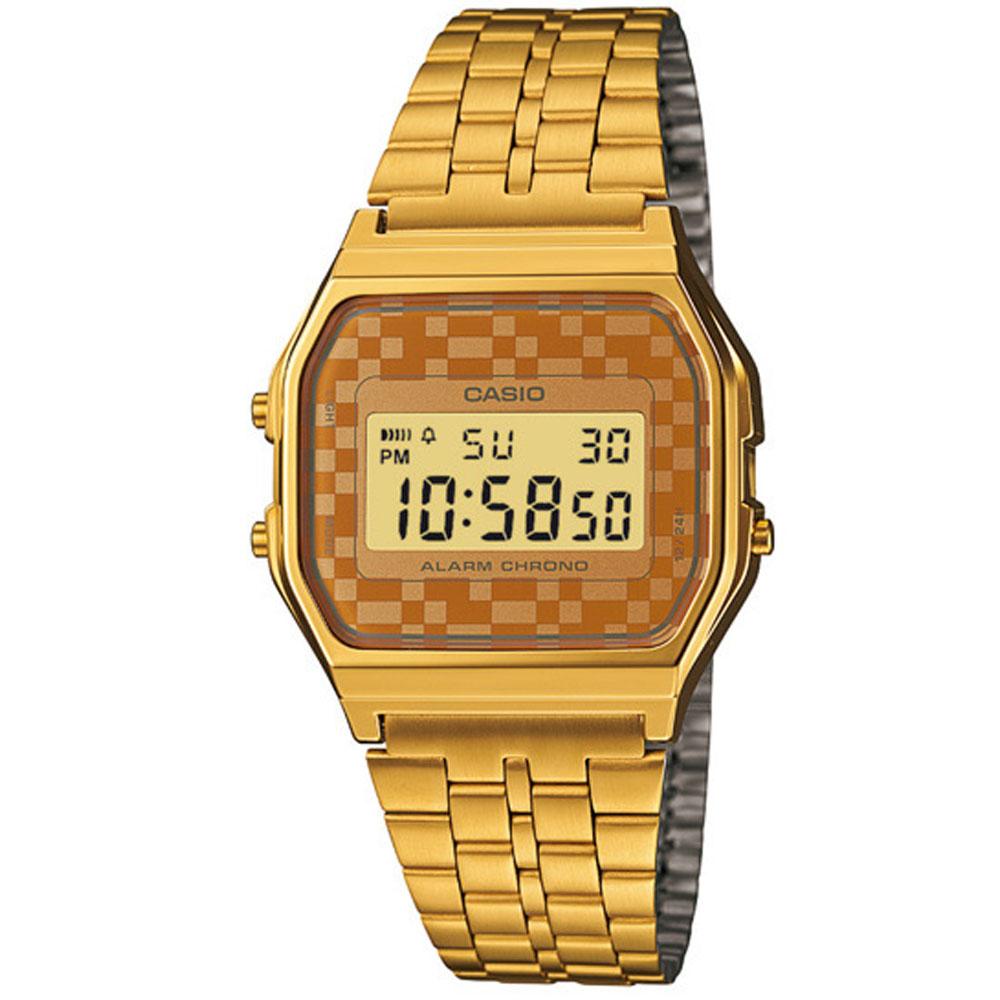 CASIO 城市經典超薄數位錶(A-159WGA-9A)-金色x咖啡格面/33.2mm