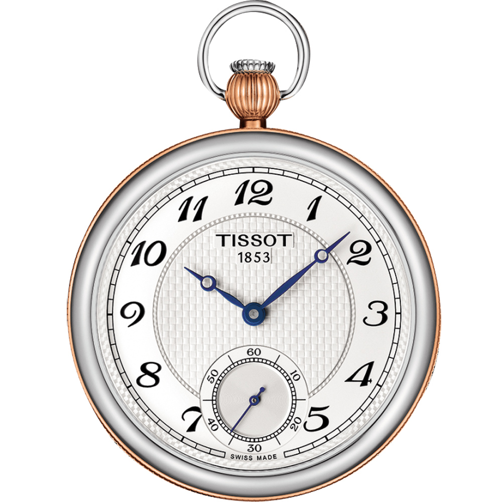 TISSOT 天梭 小秒針無蓋式機械懷錶(附鍊)-白x玫塊金/45mm