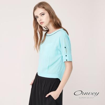 OUWEY歐薇 粉嫩水藍圓領雪紡上衣(藍)