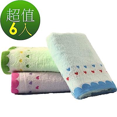 好棉嚴選 台灣製 卡洛兔 雙色緹花 100純棉全棉毛巾 隨機6入 (吸水浴巾面巾)