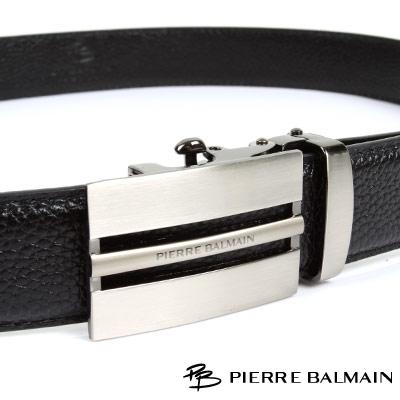 PB 皮爾帕門-經典方框簍空全霧黑Logo款-頭層牛皮自動扣皮帶-701