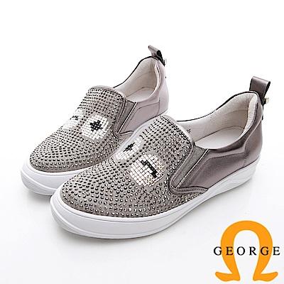 GEORGE 喬治-俏皮水鑽厚底休閒鞋-銀