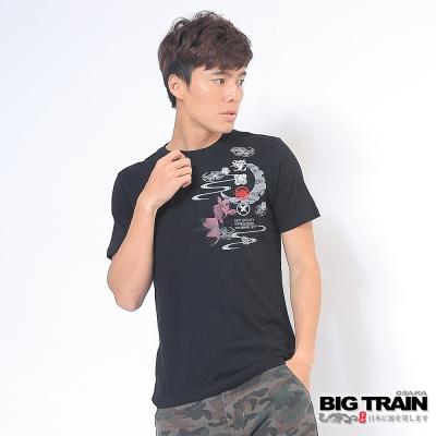 BIG TRAIN燃夏金魚圓領T-男-黑色