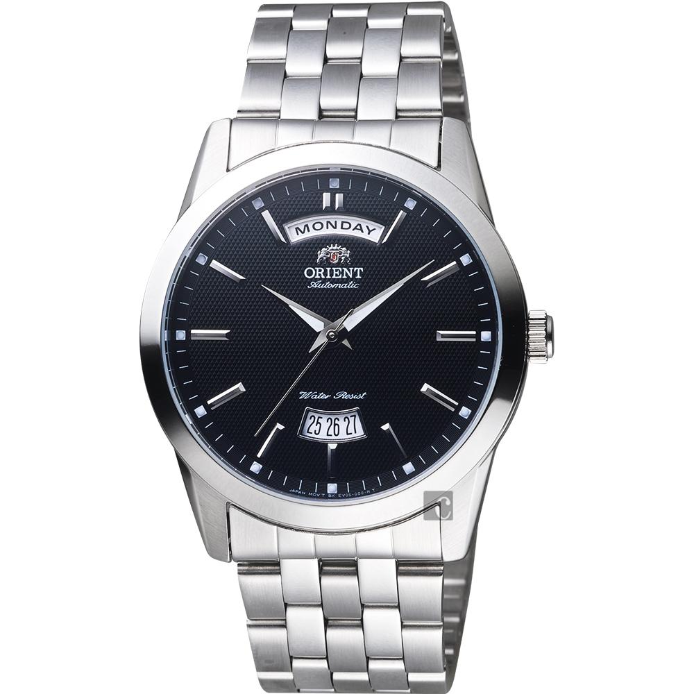ORIENT東方 都會時尚Day-Date 機械錶-黑x銀/40mm