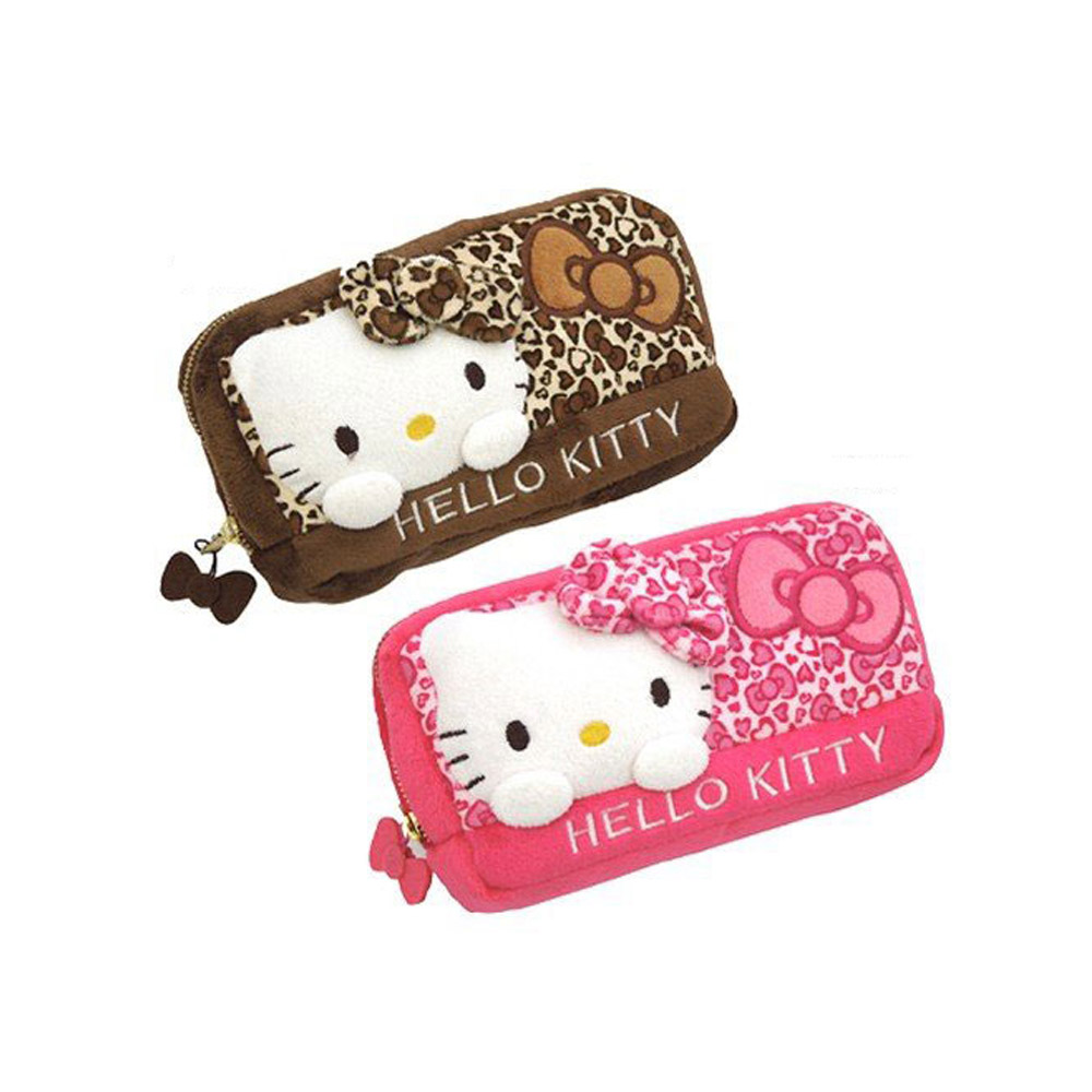 《Sanrio》HELLO KITTY絨毛豹紋長方化妝包