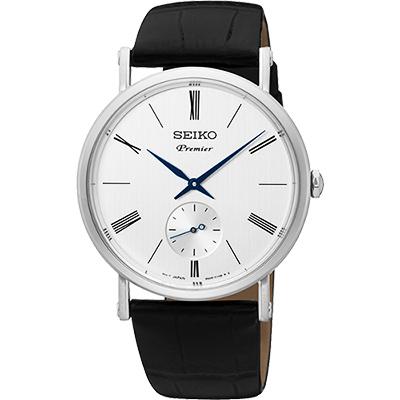 SEIKO 精工 Premier 羅馬時尚小秒針腕錶(SRK035J1)-銀/38mm