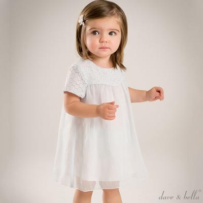 Dave Bella 淺冰藍蕾絲紗裙短袖洋裝