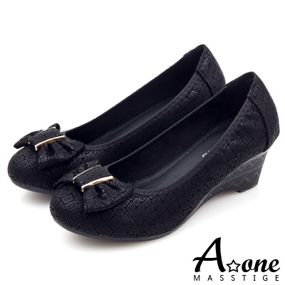 A-one-燙金動物紋麂絨飾釦蝴蝶結圓頭楔型鞋-可愛黑