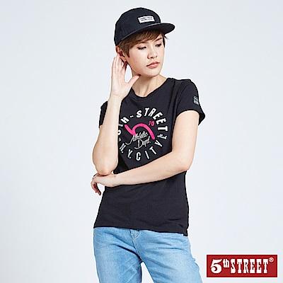 5th STREET 美式印字短袖T恤-女-黑色