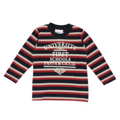 愛的世界 pappa&ciccia 純棉橫條紋圓領長袖T恤/2~3歲