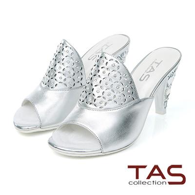 TAS-花瓣鏤空寶石鞋跟涼拖鞋-時尚銀