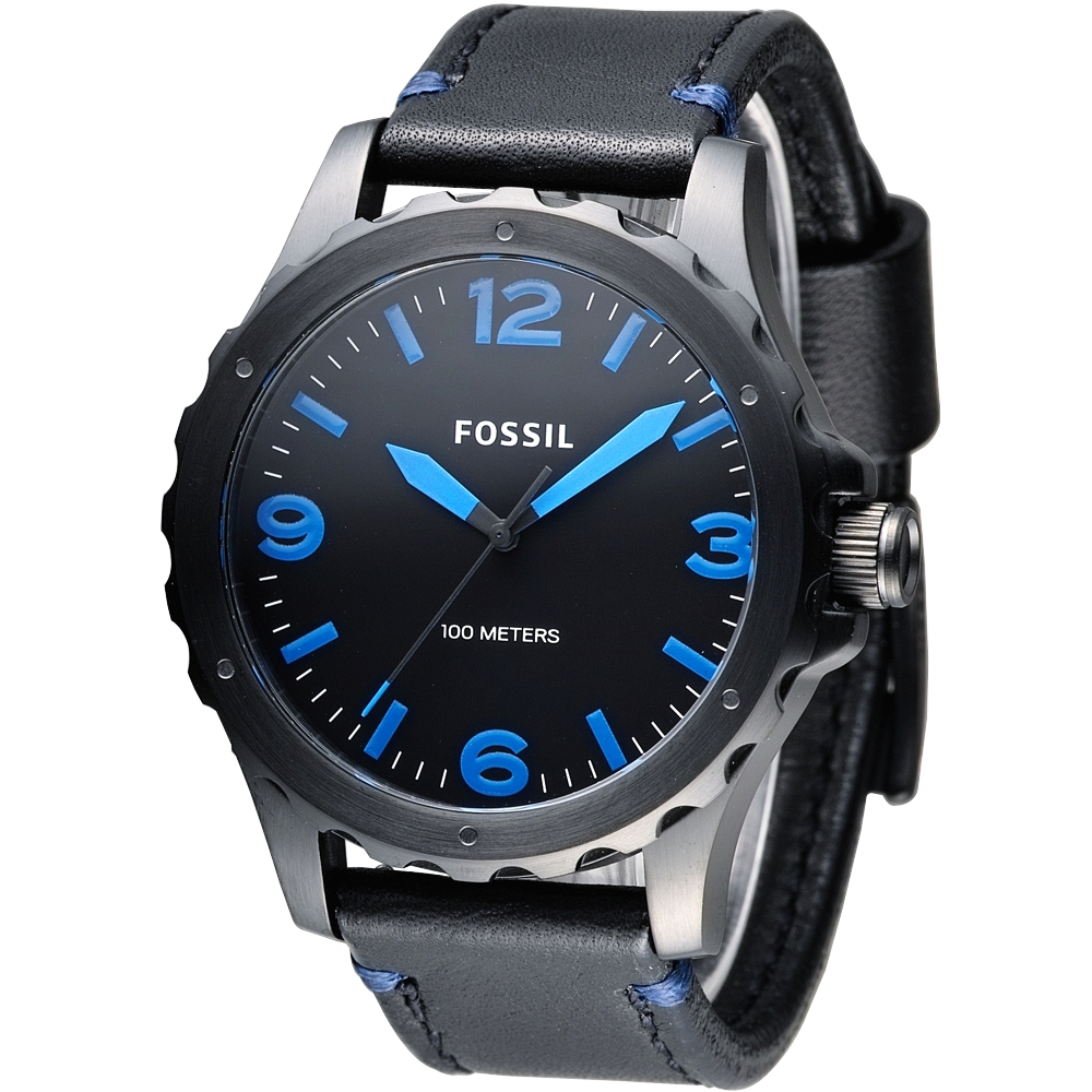 FOSSIL 黑騎士個性型男腕錶(JR1446)-黑/藍刻/44mm