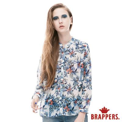BRAPPERS 女款 立領印花雪紡長袖襯衫-中藍