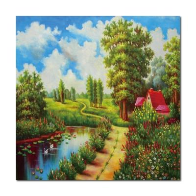橙品油畫布 - 單聯自然風複製無框藝術掛畫 - 祕密花園 50x50cm