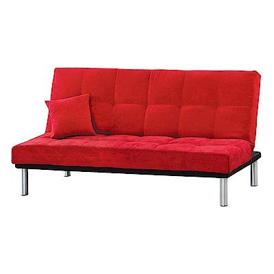 Boden-紅色絨布沙發床/三人椅/三人座(送抱枕)