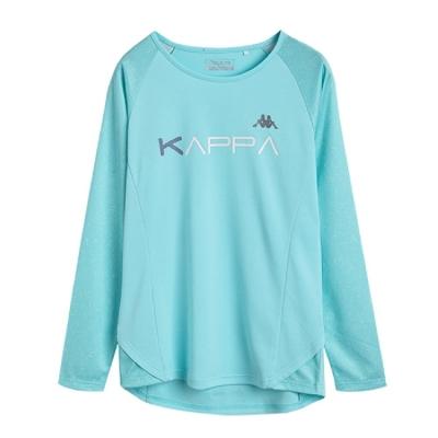 KAPPA義大利女吸濕排汗速乾彩色滿版印花長袖衫 薄荷綠 薄荷綠滿版