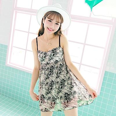 兩件式熱帶印花雪紡拼接連身褲裙泳裝‧1色-OB大尺碼