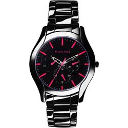 Relax Time 嶄新系列日曆女錶-黑x桃紅/37mm
