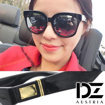 【2件59折】DZ 金屬釘框片 抗UV太陽眼鏡 墨鏡(黑框水銀膜)