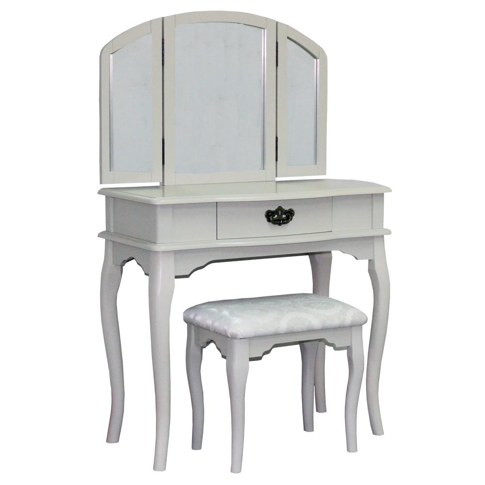 【Asllie】拱型化妝桌椅組-白