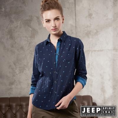 JEEP 女裝 撞色滿版印花造型長袖襯衫 -海軍藍