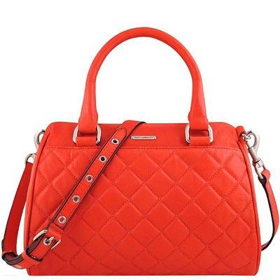 REBECCA MINKOFF 橘紅色真皮菱格紋波士頓包