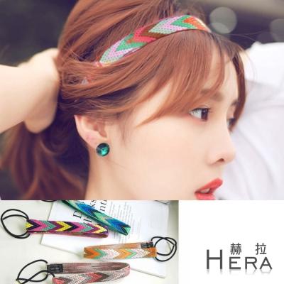 Hera  波西米亞幾何多彩編織彈性頭帶/髮帶(四色)