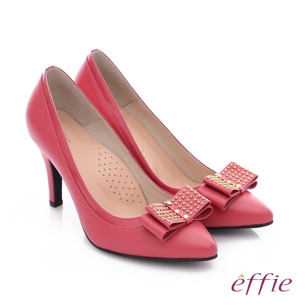 effie 耀眼女伶 真皮拼接金屬鉚釘蝴蝶結高跟鞋 桃粉紅