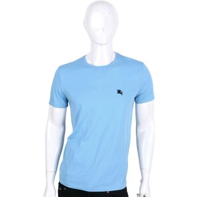 BURBERRY 水藍色超柔軟經典刺繡LOGO棉質T恤