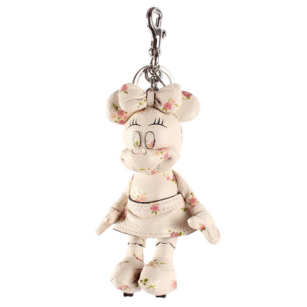 COACH DISNEY MINNIE米妮玩偶造型花花皮革鑰匙圈-白色