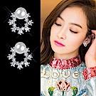 梨花HaNA 無耳洞韓國珍珠花環水鑽妝飾耳環夾式