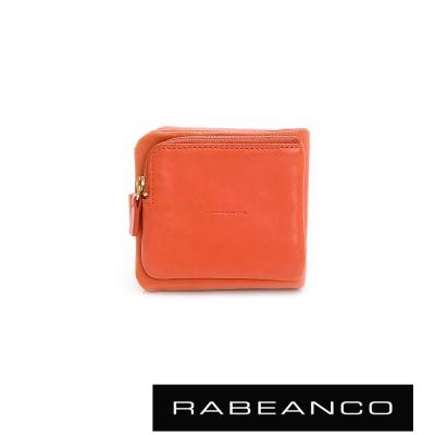 RABEANCO-絕美經典皮革多卡層短夾-橘