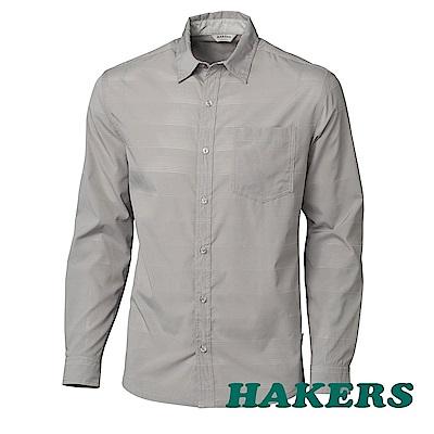 【HAKERS】男-抗UV快乾長袖襯衫-鷹灰