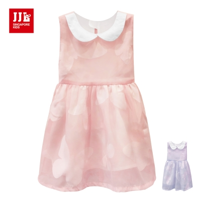 JJLKIDS 甜美花蝴蝶印花五分袖洋裝(2色)