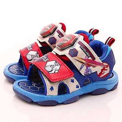 侏羅紀公園童鞋 恐龍電燈涼鞋款 EI3818藍(中小童段)
