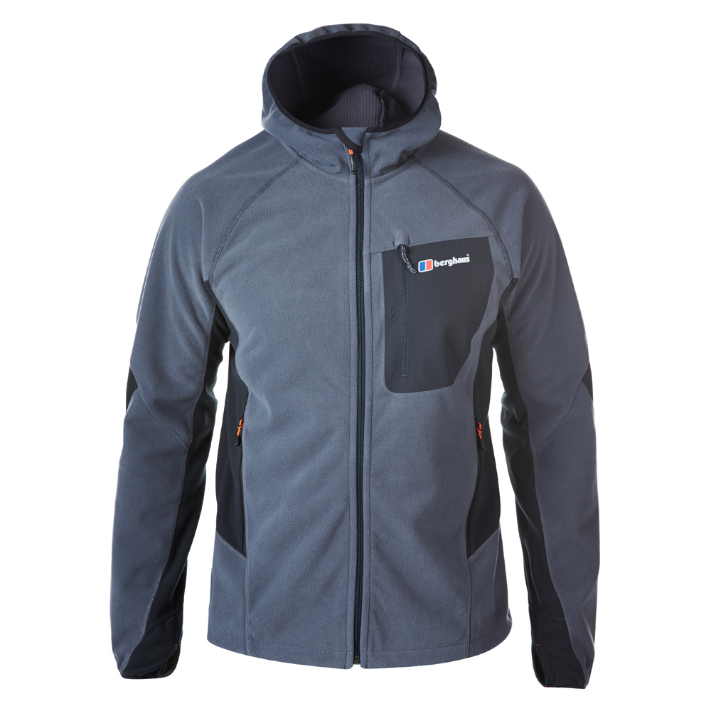 【Berghaus 貝豪斯】男款防風刷毛保暖外套H22MU9黑/灰
