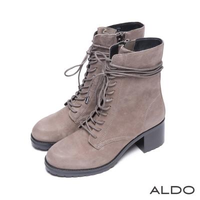 ALDO-歐美時尚原色真皮綁帶木紋粗高跟靴-氣質灰