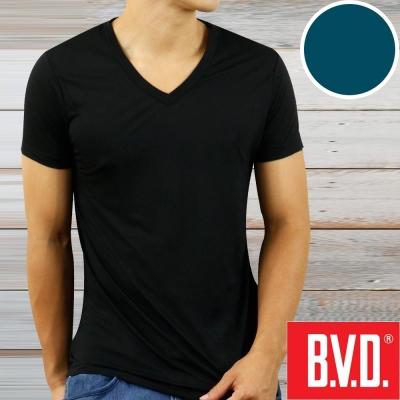 BVD 沁涼舒適酷涼 V領短袖衫(土耳其藍2入組)-台灣製造