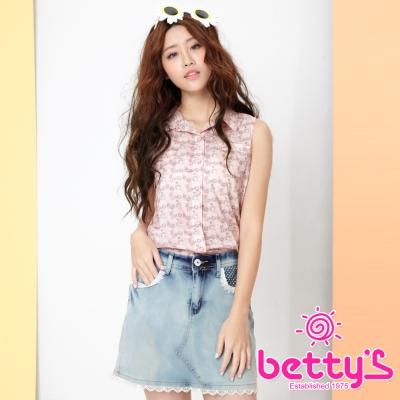betty-s貝蒂思-愛心釦飾雪紡拼接無袖襯衫-粉