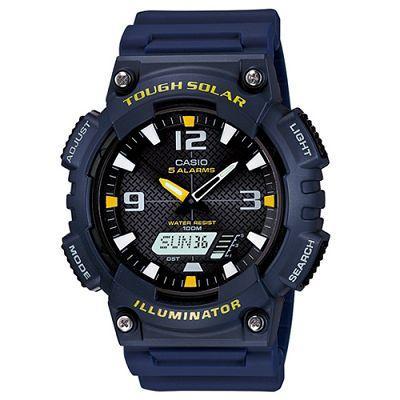 CASIO 新一代光動遊俠雙顯運動錶(AQ-S810W-2A)-黑x深藍錶帶/46.6mm