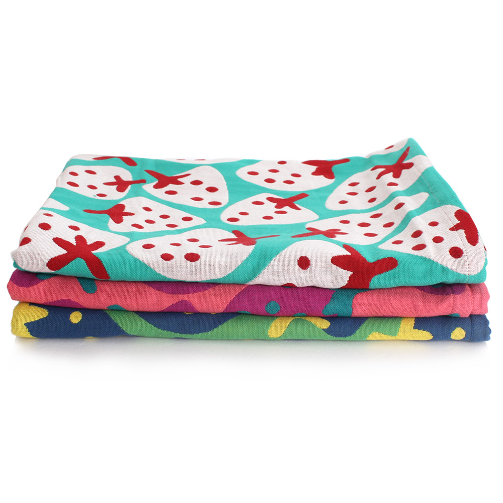 美冠甜美雙色草莓紗布浴巾6入(共三色)