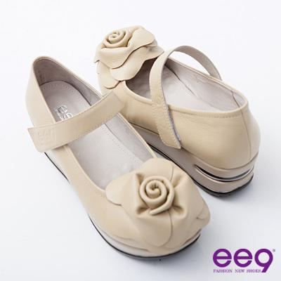 ee9-小牛皮減壓立體玫瑰魔術貼氣墊淑女鞋-優美杏